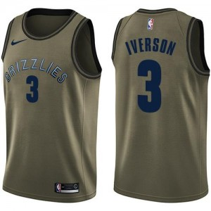 Nike Maillots Basket Iverson Memphis Grizzlies vert #3 Homme Salute to Service