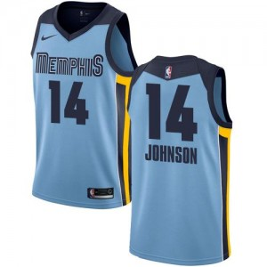 Nike Maillots De Johnson Grizzlies Bleu clair Statement Edition #14 Homme