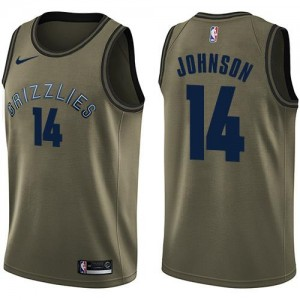 Nike NBA Maillots Basket Johnson Grizzlies vert Homme No.14 Salute to Service