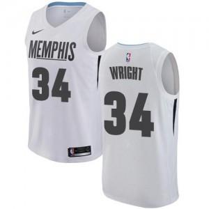 Maillot Basket Brandan Wright Grizzlies City Edition #34 Nike Enfant Blanc