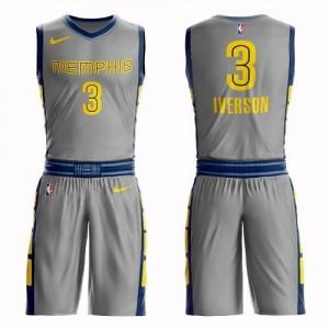 Nike NBA Maillots De Basket Allen Iverson Grizzlies Suit City Edition Homme #3 Gris