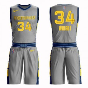 Nike NBA Maillots Wright Memphis Grizzlies Suit City Edition Homme Gris No.34