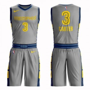 Nike Maillots De Carter Memphis Grizzlies No.3 Enfant Suit City Edition Gris