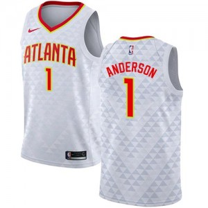 Nike NBA Maillots De Basket Justin Anderson Hawks #1 Enfant Blanc Association Edition