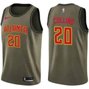 Nike NBA Maillots Basket John Collins Hawks #20 vert Enfant Salute to Service