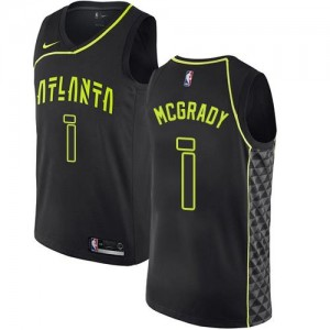 Nike Maillots Basket Tracy Mcgrady Atlanta Hawks #1 Enfant Noir City Edition