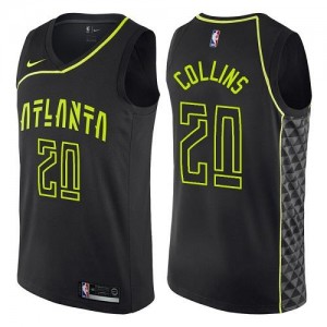 Nike NBA Maillot Basket Collins Hawks Noir No.20 Homme City Edition