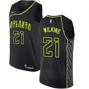 Nike NBA Maillots De Dominique Wilkins Hawks Noir #21 Enfant City Edition