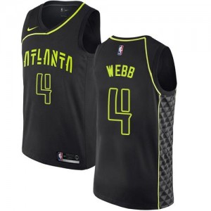 Maillots Spud Webb Atlanta Hawks No.4 Noir Enfant City Edition Nike