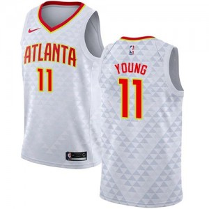 Maillot De Young Atlanta Hawks #11 Nike Enfant Blanc Association Edition