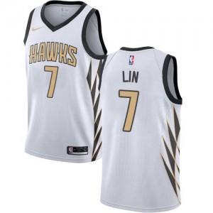 Nike NBA Maillots Basket Lin Atlanta Hawks Blanc #7 Homme City Edition