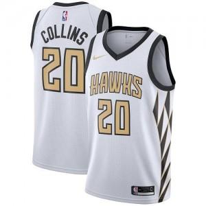 Nike NBA Maillot Basket Collins Atlanta Hawks City Edition Blanc No.20 Homme