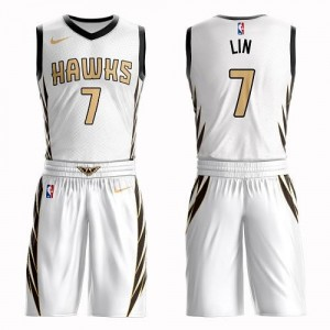 Nike NBA Maillots Basket Jeremy Lin Atlanta Hawks Suit City Edition Blanc Homme No.7