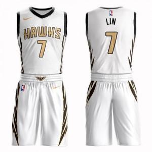 Nike NBA Maillots De Basket Jeremy Lin Atlanta Hawks Enfant #7 Suit City Edition Blanc