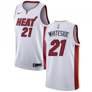 Nike NBA Maillots Whiteside Miami Heat Enfant Association Edition #21 Blanc