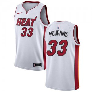 Maillots Basket Alonzo Mourning Heat Homme #33 Association Edition Blanc Nike