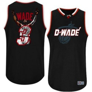 Maillots Wade Heat #3 Noir Majestic Homme Notorious