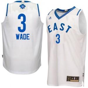 Maillots De Basket Dwyane Wade Miami Heat Blanc Adidas Homme #3 2016 All Star