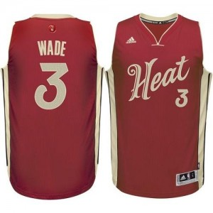 Maillots Dwyane Wade Heat Rouge No.3 Adidas Enfant 2015-16 Christmas Day
