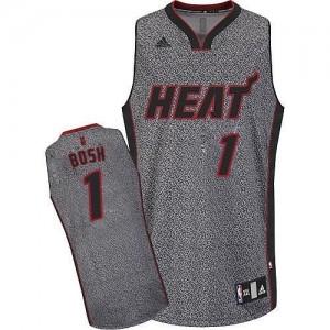 Maillot De Basket Chris Bosh Miami Heat Gris No.1 Adidas Static Fashion Homme
