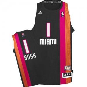 Maillots Basket Chris Bosh Miami Heat No.1 ABA Hardwood Classic Adidas Homme Noir