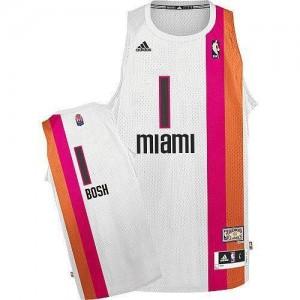 Adidas NBA Maillots De Bosh Heat Blanc ABA Hardwood Classic #1 Homme