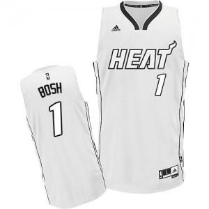 Maillot Basket Bosh Heat Homme #1 Blanc sur blanc Adidas