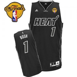 Adidas NBA Maillots Basket Chris Bosh Miami Heat #1 Homme Ombre noire Finals