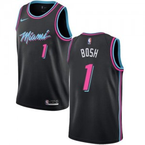 Nike NBA Maillots De Basket Bosh Heat Enfant Noir No.1 City Edition