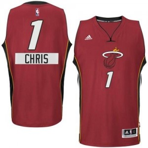 Adidas NBA Maillots Basket Bosh Miami Heat 2014-15 Christmas Day #1 Homme Rouge