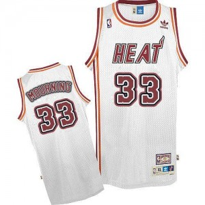 Adidas NBA Maillot De Mourning Heat Blanc Homme No.33 Throwback
