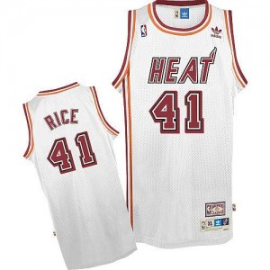 Maillots Basket Rice Heat Throwback No.41 Adidas Homme Blanc