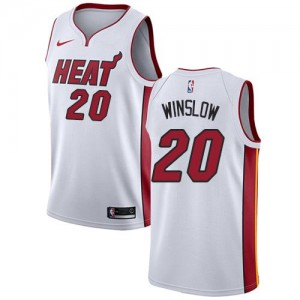 Maillots Basket Justise Winslow Miami Heat #20 Blanc Enfant Association Edition Nike