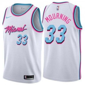 Nike NBA Maillots De Basket Mourning Miami Heat City Edition Homme #33 Blanc