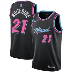 Maillot Whiteside Miami Heat Homme City Edition #21 Nike Noir