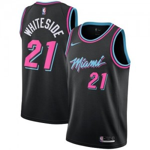 Maillots De Basket Hassan Whiteside Miami Heat City Edition #21 Enfant Nike Noir