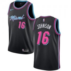 Nike Maillots Basket James Johnson Miami Heat Enfant City Edition #16 Noir