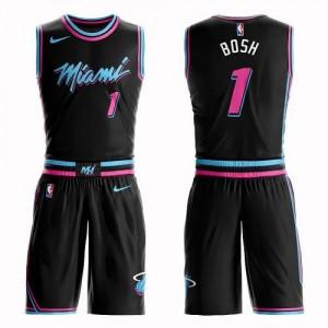 Nike Maillots De Chris Bosh Heat #1 Homme Suit City Edition Noir