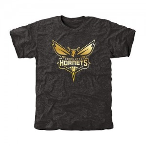 T-Shirt Basket Charlotte Hornets Gold Collection Tri-Blend Noir Homme