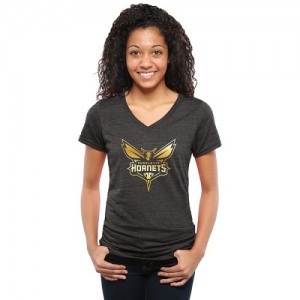 Tee-Shirt De Basket Charlotte Hornets Femme Noir Gold Collection V-Neck Tri-Blend