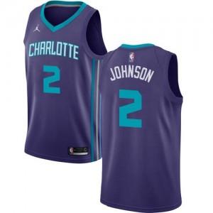Jordan Brand Maillot Basket Larry Johnson Charlotte Hornets Violet #2 Statement Edition Homme