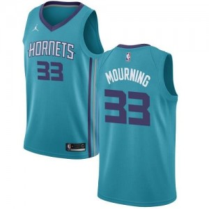 Jordan Brand Maillots Basket Alonzo Mourning Hornets Icon Edition No.33 Turquoise Homme