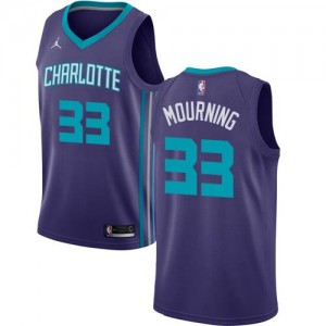 Jordan Brand NBA Maillots Alonzo Mourning Hornets Violet No.33 Statement Edition Homme