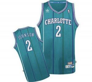 Maillots Basket Larry Johnson Charlotte Hornets Bleu clair Throwback #2 Homme Adidas