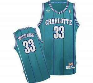 Adidas Maillots Basket Mourning Hornets #33 Homme Bleu clair Throwback