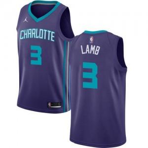 Maillots Jeremy Lamb Hornets #3 Violet Homme Statement Edition Jordan Brand