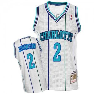 Maillot De Johnson Charlotte Hornets Throwback #2 Mitchell and Ness Homme Blanc