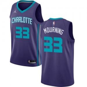 Jordan Brand NBA Maillot De Alonzo Mourning Charlotte Hornets Enfant Statement Edition Violet No.33