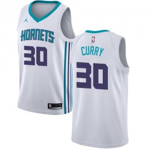 Jordan Brand Maillots De Curry Hornets #30 Association Edition Blanc Enfant