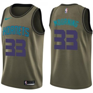 Nike NBA Maillots De Mourning Hornets #33 Salute to Service vert Enfant